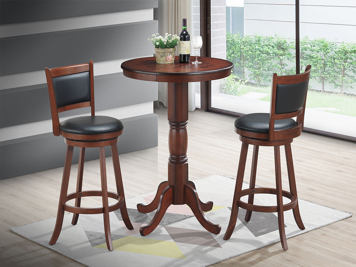 BAR SET WITH VENEER PATTERN TOP